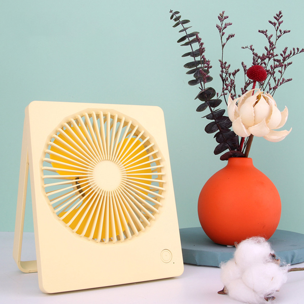 3 Speed Mini Fan Portable USB Desktop Cooling Fan with 180 Degree Adjustable for Office Household Traveling yellow_14.3 * 3.2 * 17.4cm