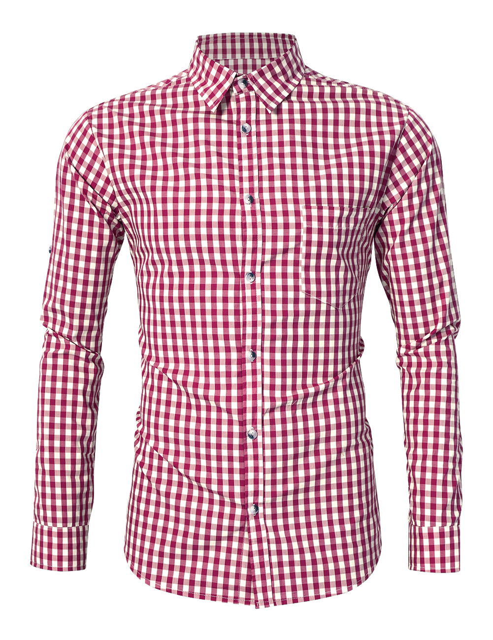 [EU Direct] Glorystar Men's Long Sleeve Checkered Bavarian Oktoberfest Shirt for Lederhosen Red_S