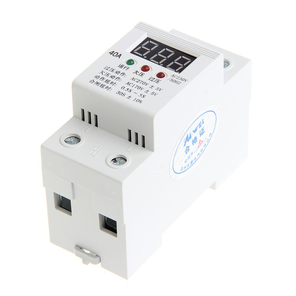 40A Automatic Reconnect Over Under Voltage Protection Relay Voltmeter Monitor white