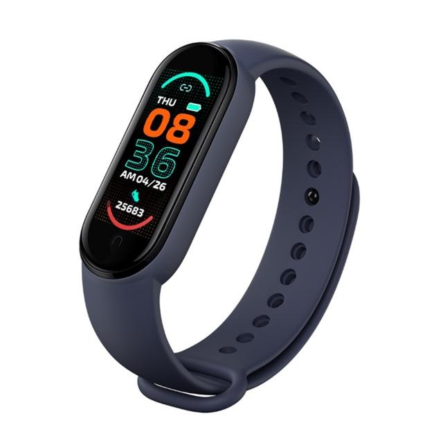 M6 Smart Watch Bracelet Heart Rate Blood Pressure Monitor Fitness Color Screen Ip67 Waterproof Smartwatch blue
