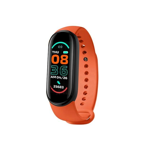 M6 Smart Watch Bracelet Heart Rate Blood Pressure Monitor Fitness Color Screen Ip67 Waterproof Smartwatch Orange
