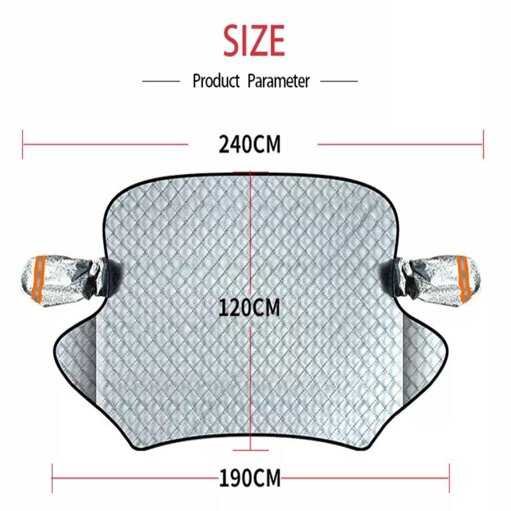 140cmx120cm Car Windscreen Frost Cover Snow Magnetic Cover Windshield General Car Cover with Two Mirror Covers white