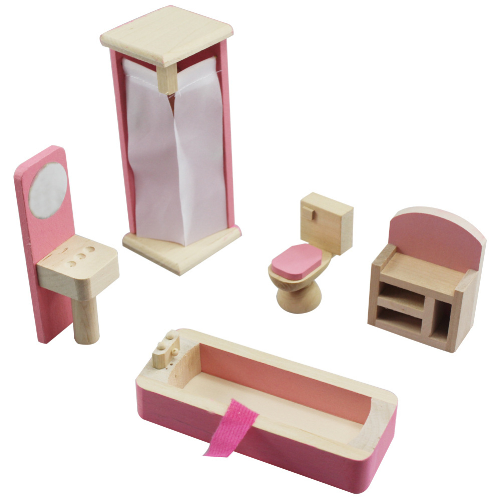 Furniture Toys Set Wooden Dollhouse Miniature for Kids Pretend Play Rooms Set bathroom