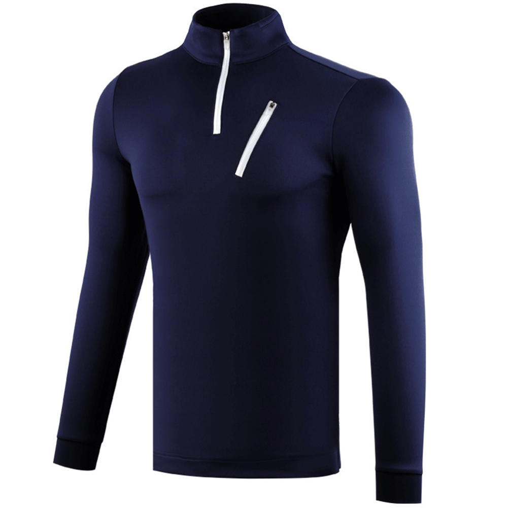 Male Golf Autumn Winter Clothes Stand Collar Long Sleeve T-shirt Windproof Warm Suit YF213 navy blue_L