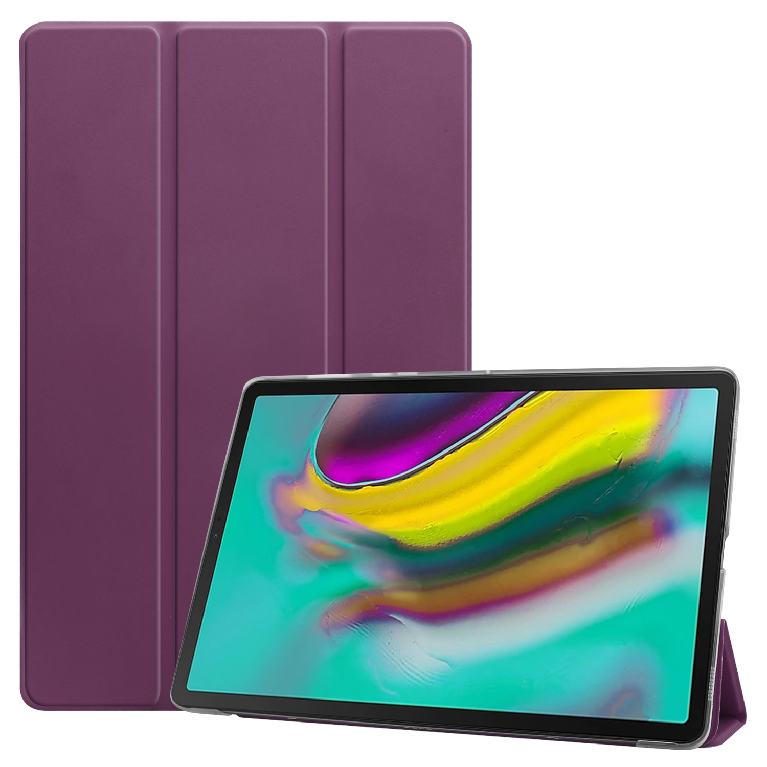 For Samsung Tab S5E 10.5 T720 Ultra-thin PU Leather Bracket Tri-fold Protective Case with Sleep Function purple