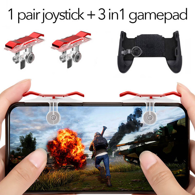 Gamepad Joystick for PUBG Mobile Controller L1 R1 Shoot Handle Gamepad for Knives Out Trigger Fire Game Joystick red