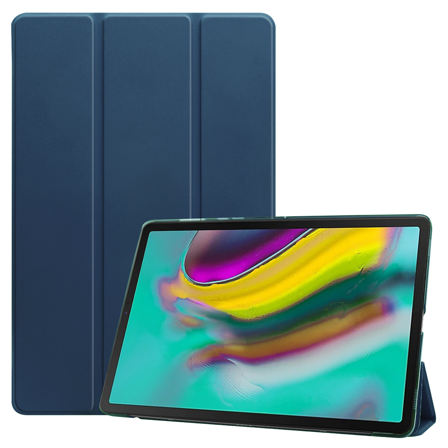 For Samsung Tab S5E 10.5 T720 Ultra-thin PU Leather Bracket Tri-fold Protective Case with Sleep Function blue