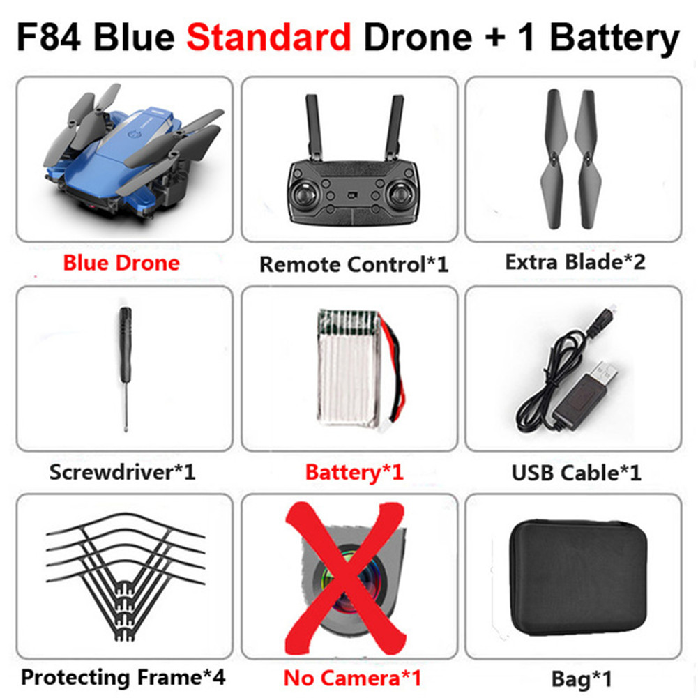 F84 Quadcopter Wireless RC Drone With 4K/5MP/0.3MP HD Camera WiFi FPV Helicopter Foldable Airplane For Children Gift Toy blue_No camera 1B