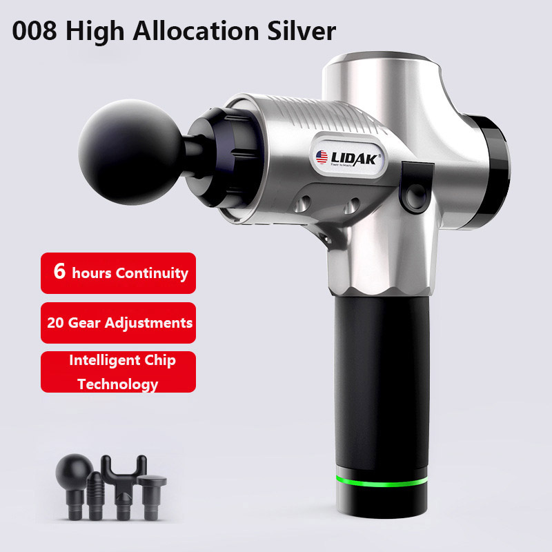 12V/24V Lidak Muscle Massager Electric Vibration Muscle Relax Massager 4 Heads Rechargeable US Plug Silver_US regulations - carton