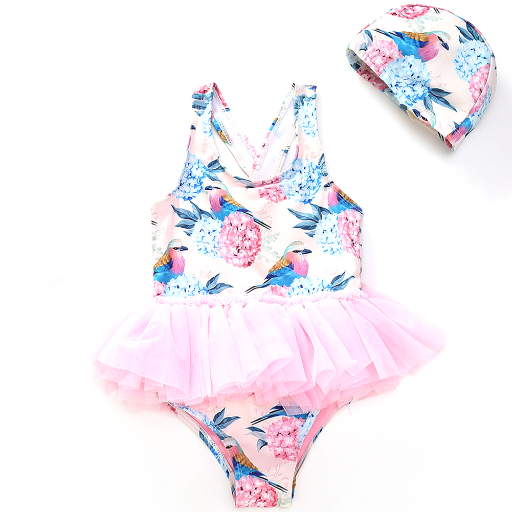 Cute Printing Mesh Lace TUTU Dress Shape Swimwear + Swimming Cap Set Y6006 pink flower and bird + same color swimming cap_80CM
