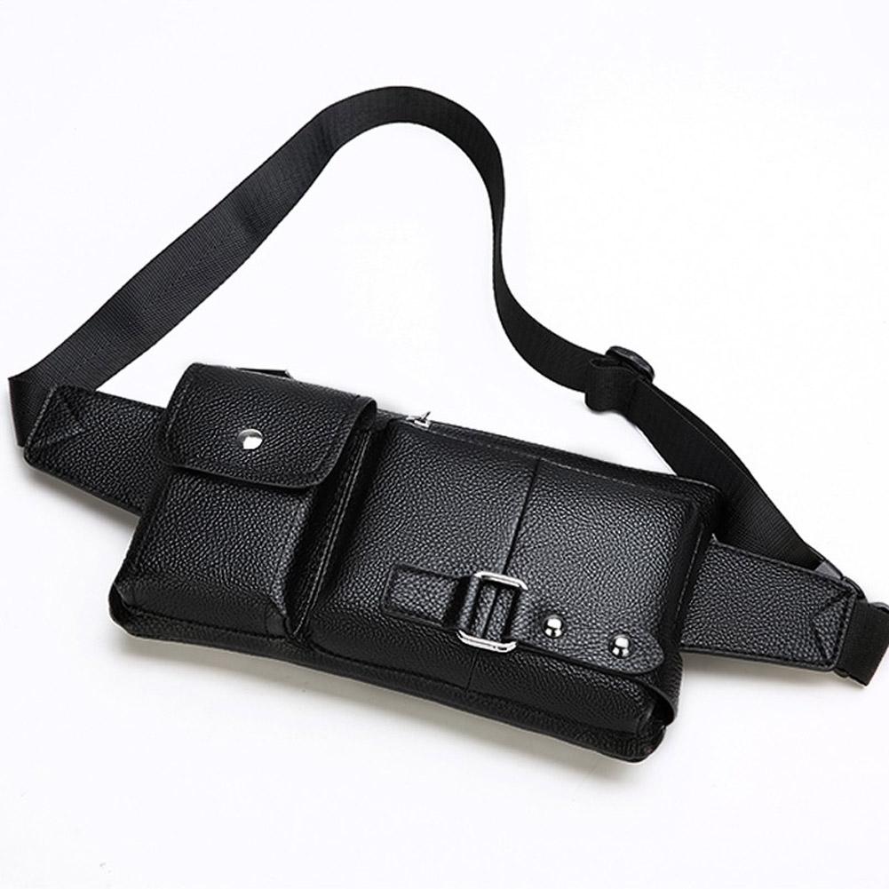 Men Phone Waist Bag Pu Single Shoulder Bag Satchel for Outdoor Sports Black