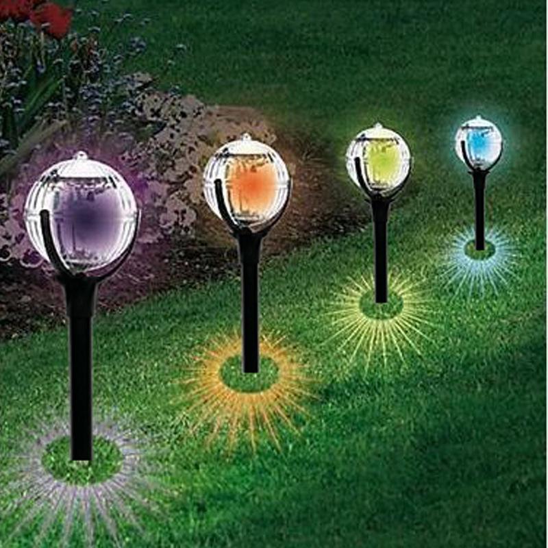 Outdoor Solar Garden Stake Lights LED Garden Landscape Decorative Lawn Lamp 2PCS colorful light