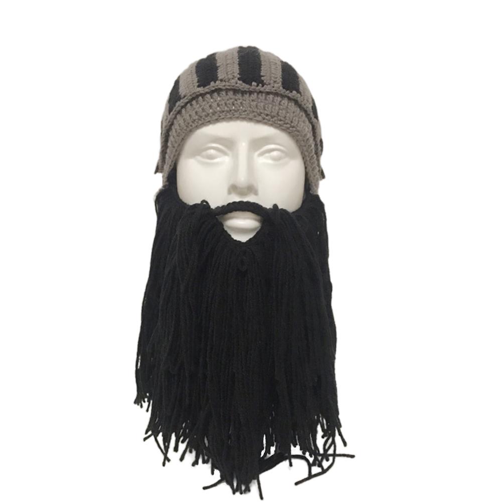 Beard Knight Hat Helmet Design Hat Handmade Knit Winter Warm Cap Men Women Cool Funny Party Halloween Gifts black_Free size