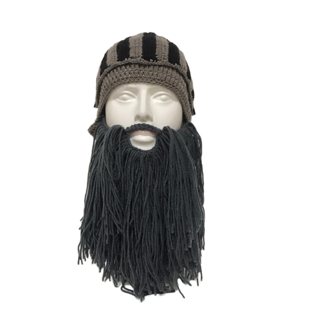 Beard Knight Hat Helmet Design Hat Handmade Knit Winter Warm Cap Men Women Cool Funny Party Halloween Gifts Navy_Free size