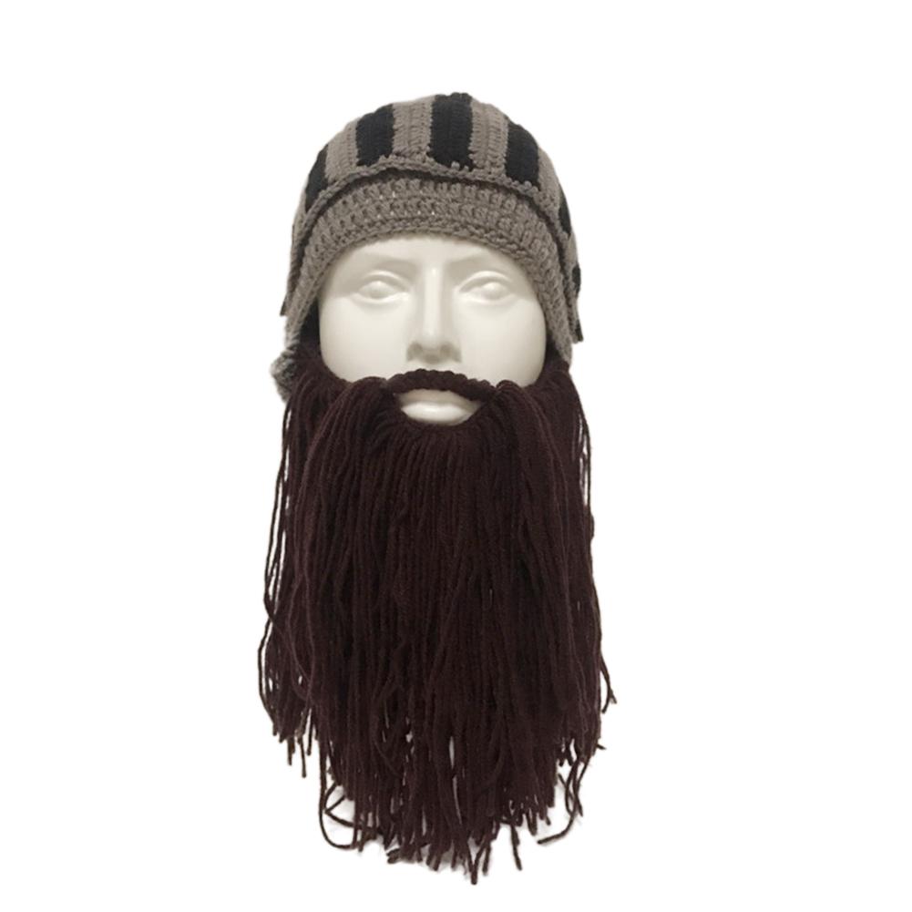 Beard Knight Hat Helmet Design Hat Handmade Knit Winter Warm Cap Men Women Cool Funny Party Halloween Gifts brown_Free size