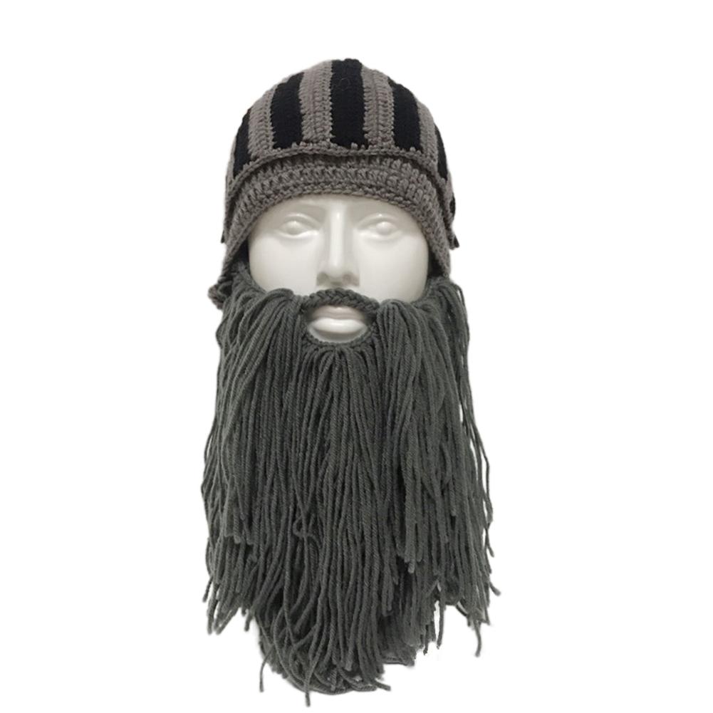 Beard Knight Hat Helmet Design Hat Handmade Knit Winter Warm Cap Men Women Cool Funny Party Halloween Gifts gray_Free size