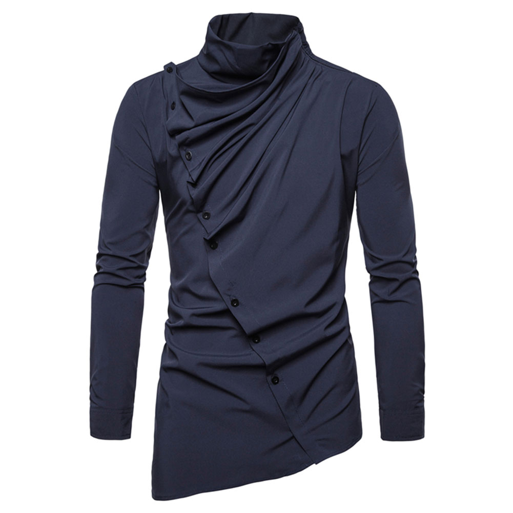 Men's Shirt Asymmetric Oblique Placket Stand-up Collar Long-sleeved Shirt Navy_M
