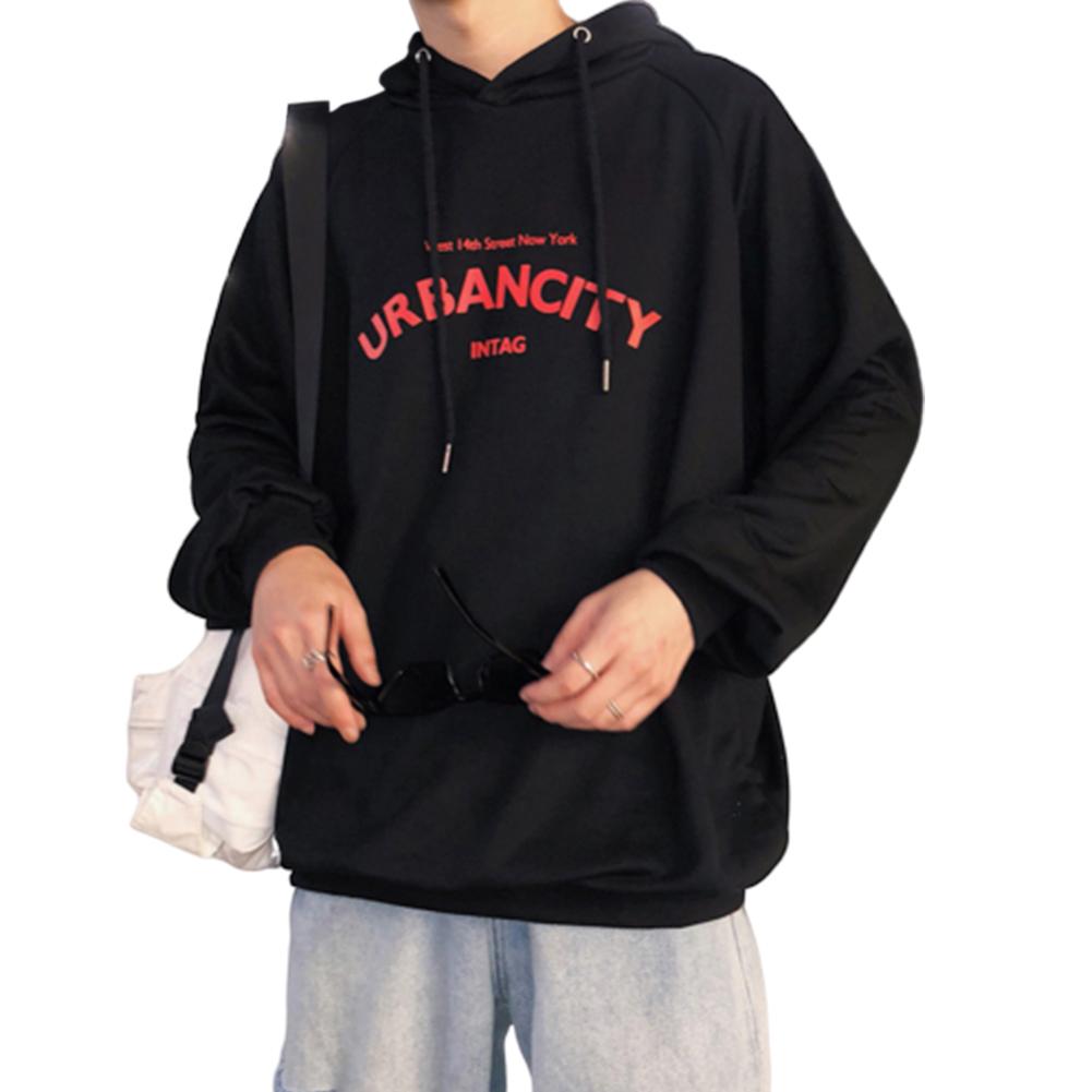 Men Hoodie Boy Hooded Top Casual Daily Wear Loose Edition Sportswear Jogging Clothing black_XL