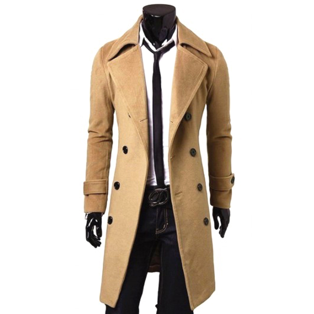 Long Trench Coat Warm Thicken Woolen Long Overcoat Quality Slim Black Male Overcoat Khaki_M
