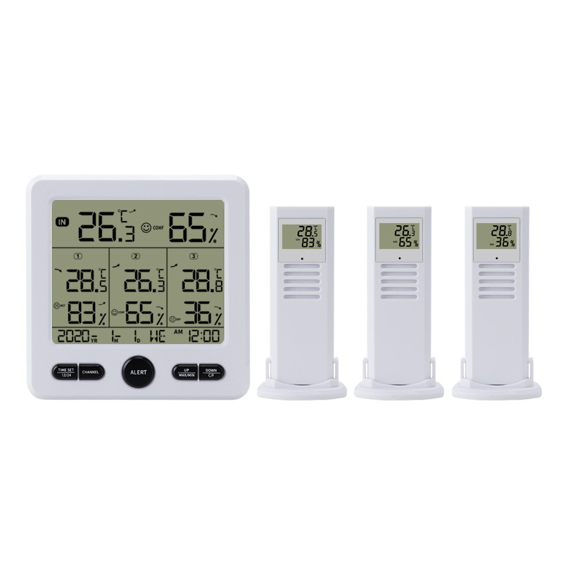 Temperature and Humidity Meter One-drive-three Multifunctional Wireless High Precision Thermometer with Color Alarm TS-6210-W