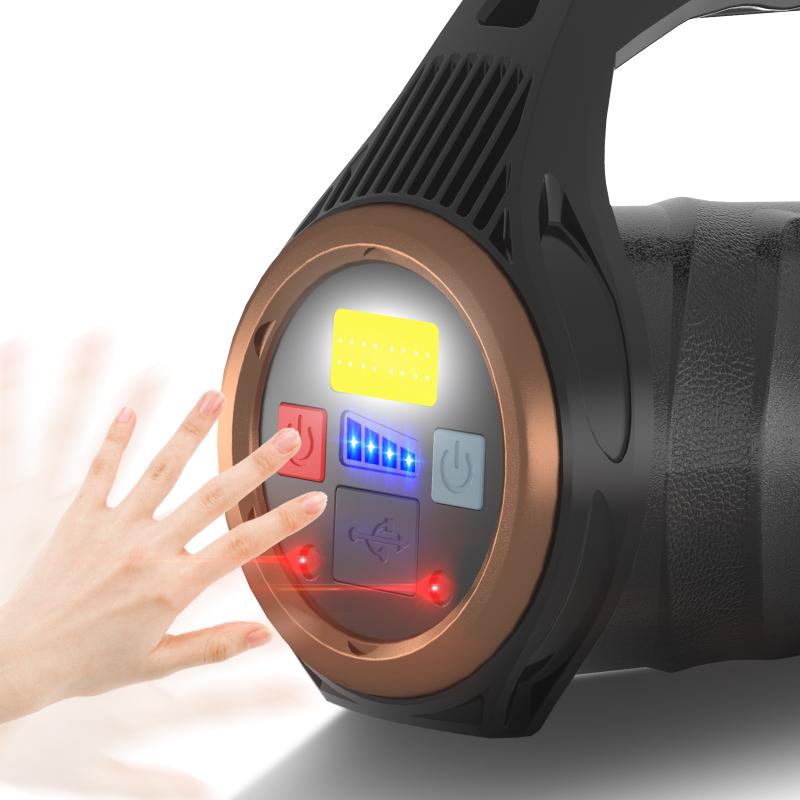 XHP99+COB LED Spotlight Flashlight Work Lamp Rechargeable Torch Outdoor Fishing Light black_Model R507