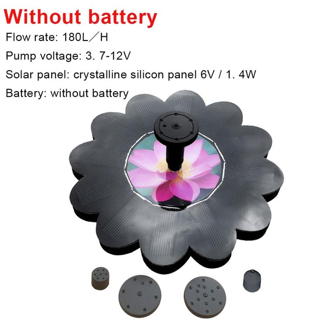 Floating Solar Water Fountain Garden Pond Villa Landscape Decoration With battery 800MA / lotus