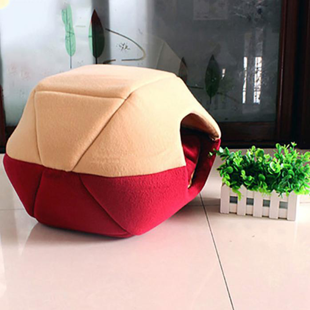 Foldable Soft Warm Winter Cat Dog Bed House Animal Puppy Cave Sleeping Mat Pad Nest Kennel Pet Supplies  red_S
