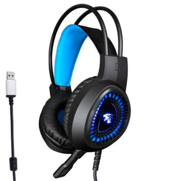 V1000 Headset Heavy Bass Internet Cafe E-sports Game Headphones Luminous 7.1 Channel USB/3.5MM Headset blue_7.1 USB interface