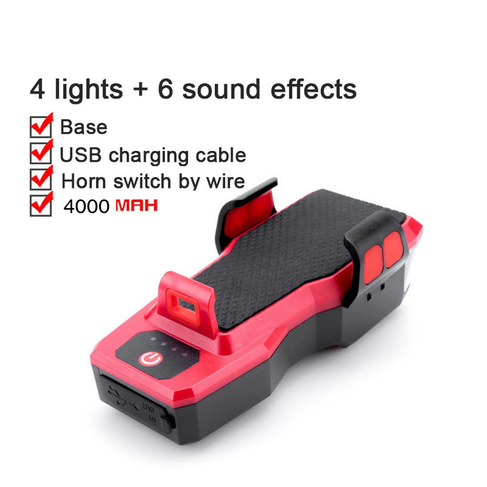 4 in 1 Bicycle Strong Light Headlight Set With Horn Mobile Phone Holder For Bike MTB Light 909 red_4000ma