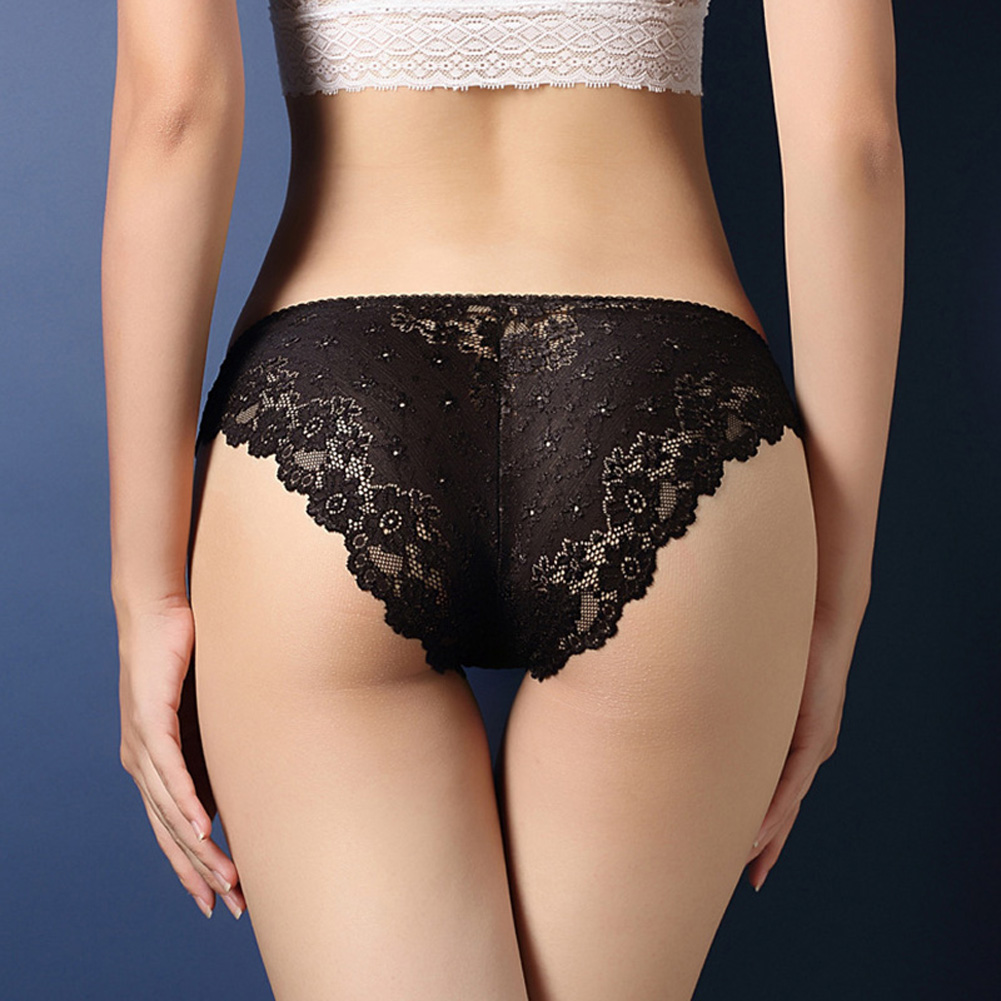 Women Lace Floral Sexy Underwear Ultra-thin Low Rise Erotic Lingerie Briefs Temptation Panties Black_One size
