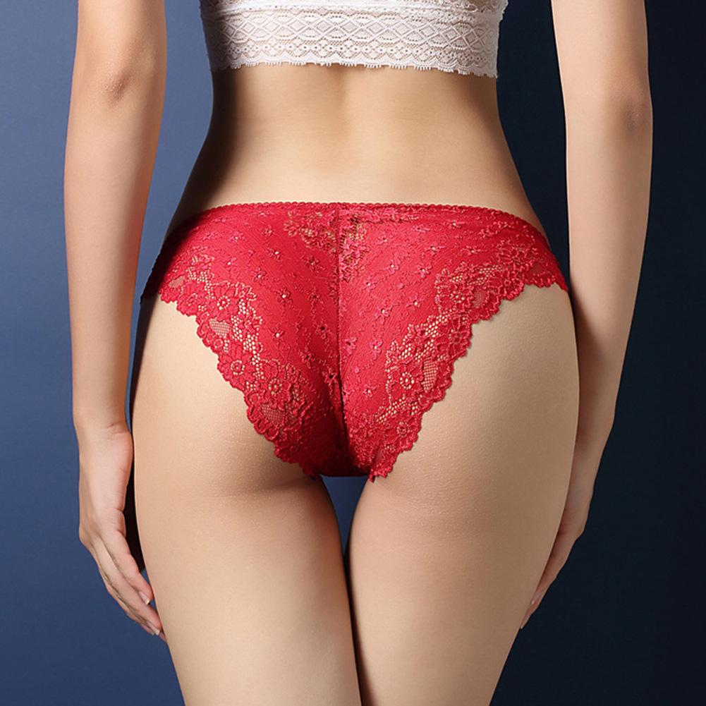 Women Lace Floral Sexy Underwear Ultra-thin Low Rise Erotic Lingerie Briefs Temptation Panties Red_One size