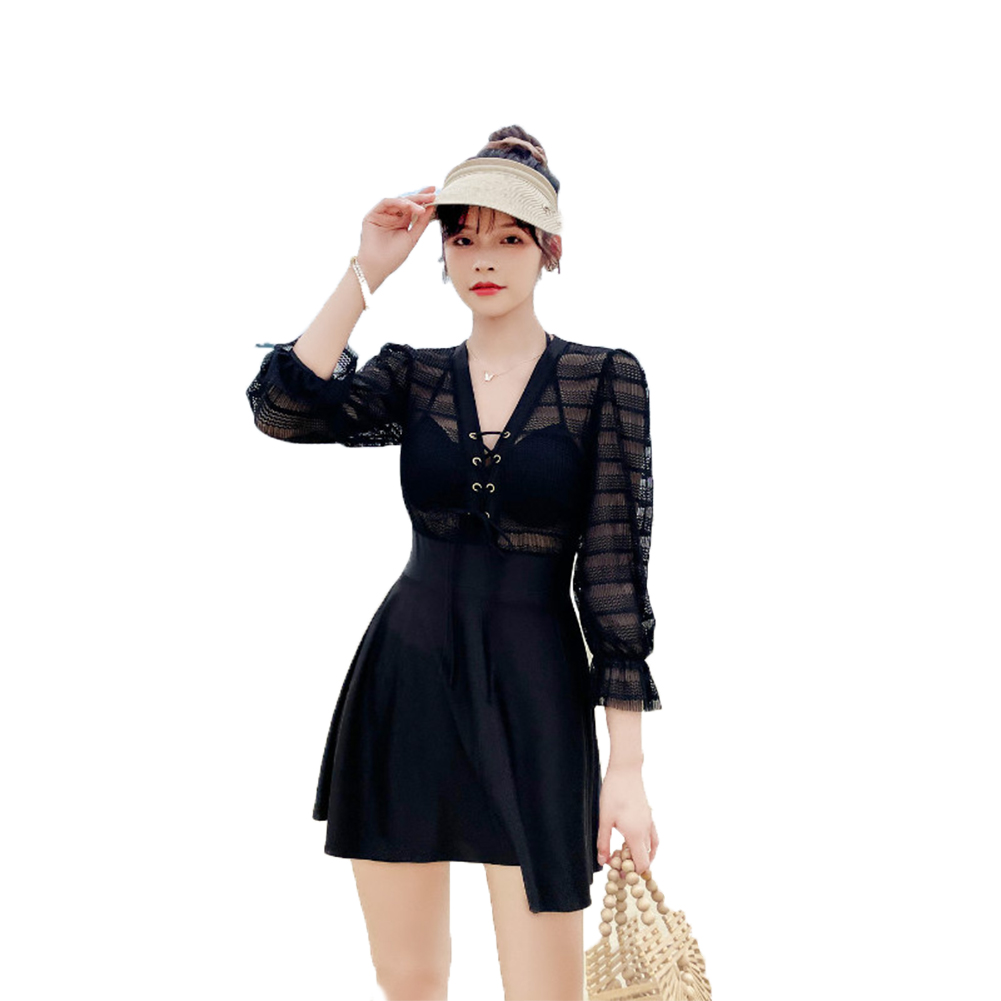 Women Swimsuit Sexy Slimming V-neck Solid Color One-piece Swimwear black_M