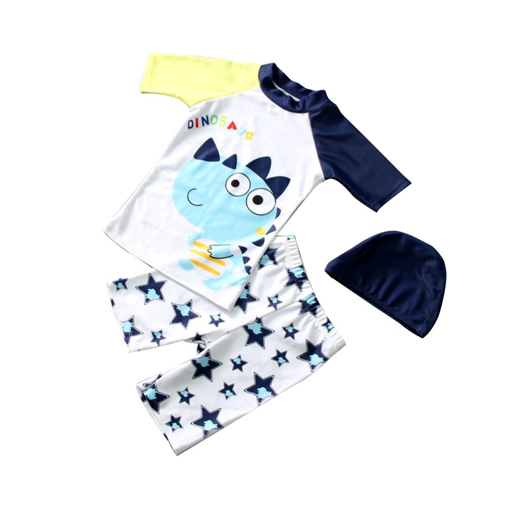 3pcs/set Boy Cute Swimming Suit Sunscreen Suit Tops + Shorts + Hat rhinoceros dragon_M