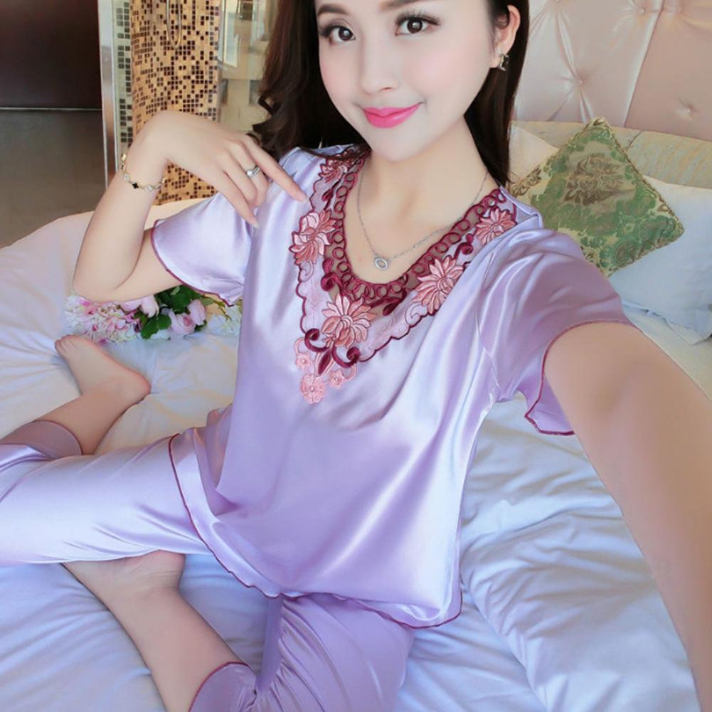 Women Pajamas Sets Thin Pants Short Sleeve Tops Sleepwear Suit Violet_M