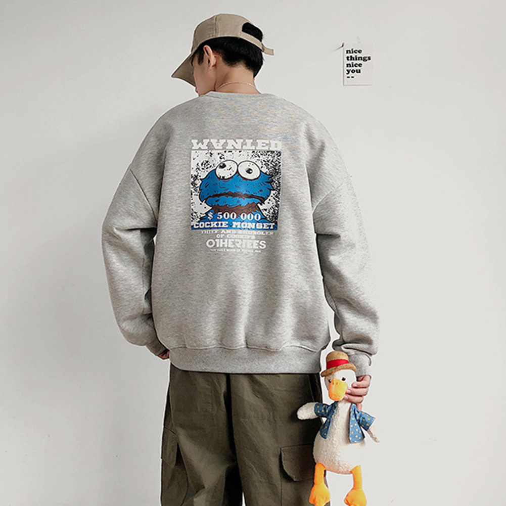 Men Women Sweatshirt KAWS Wanted Crew Neck Printing Loose Fashion Pullover Tops Light grey_XXXL