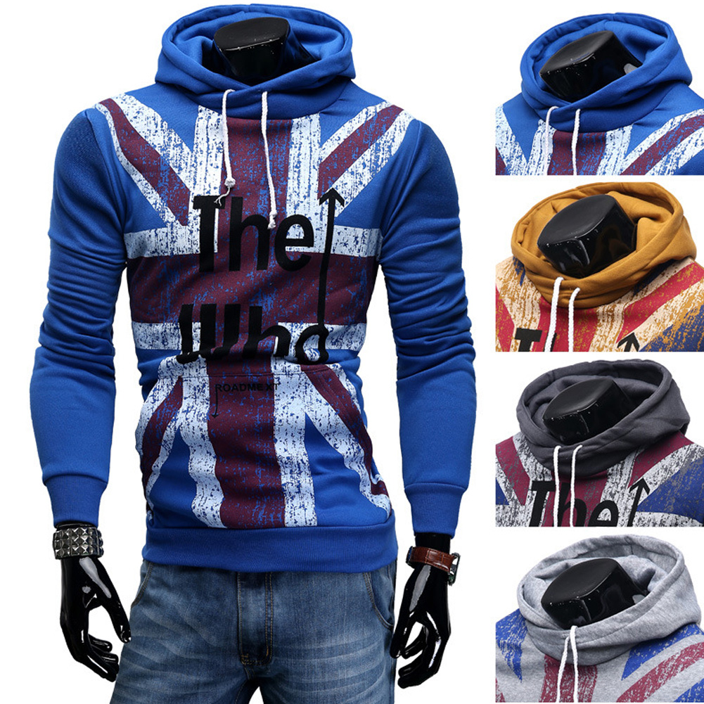 Men Streetwear Letter Printed Long Sleeve Men Sweatshirts Hooded blue_L