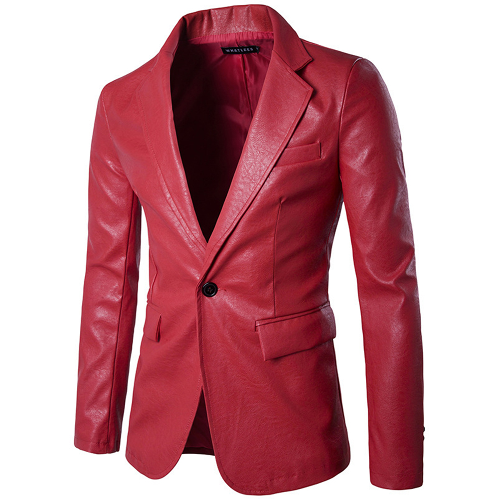 Men Spring Solid Color Slim PU Leather Fashion Single Row One Button Suit Coat Tops red_XL