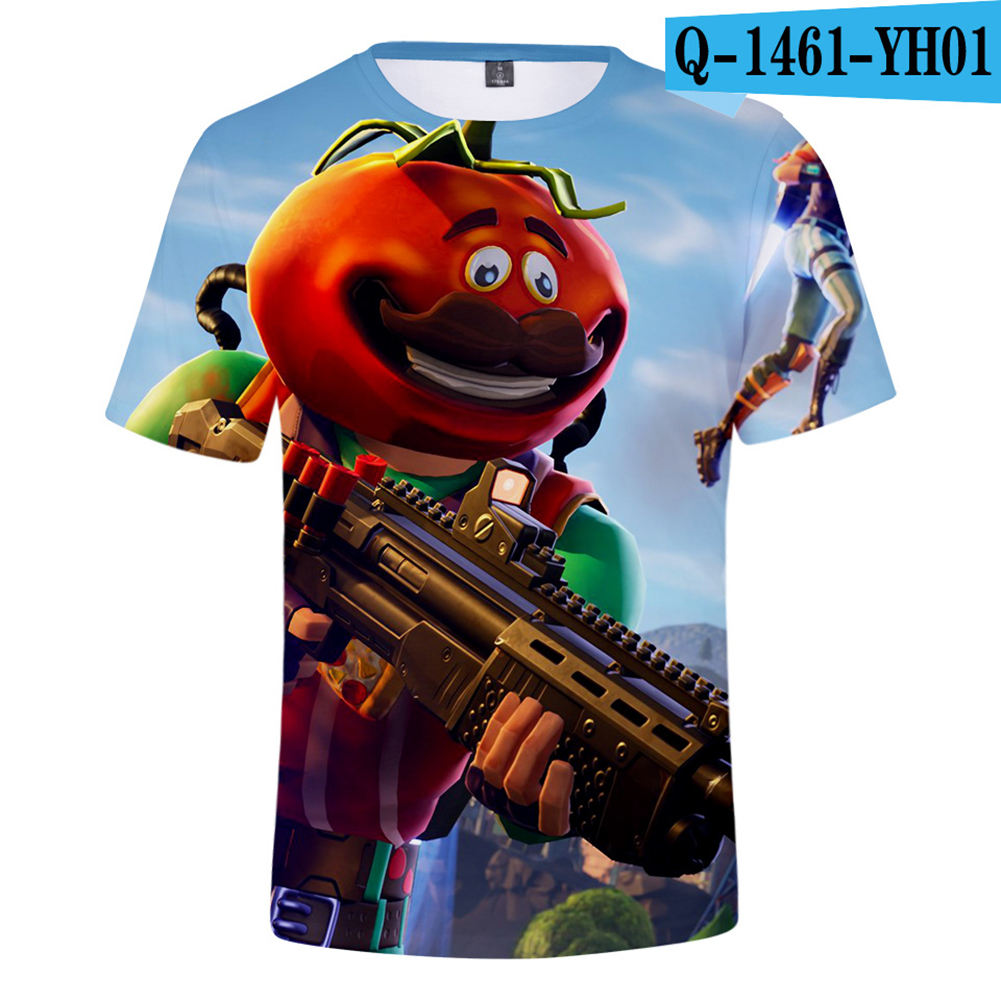 Casual 3D Cartoon Pattern Round Neck T-shirt Picture color AC_XL