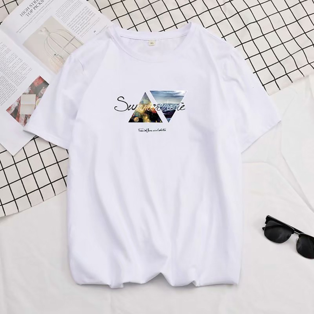 Men Summer Fashion Short-sleeved T-shirt Round Neckline Loose Printed Cotton Bottoming Top M_614 white