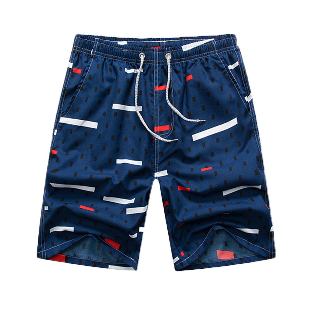 Men Summer Quick-drying Printing Shorts for Surfing Beach Wear Black square_XXL