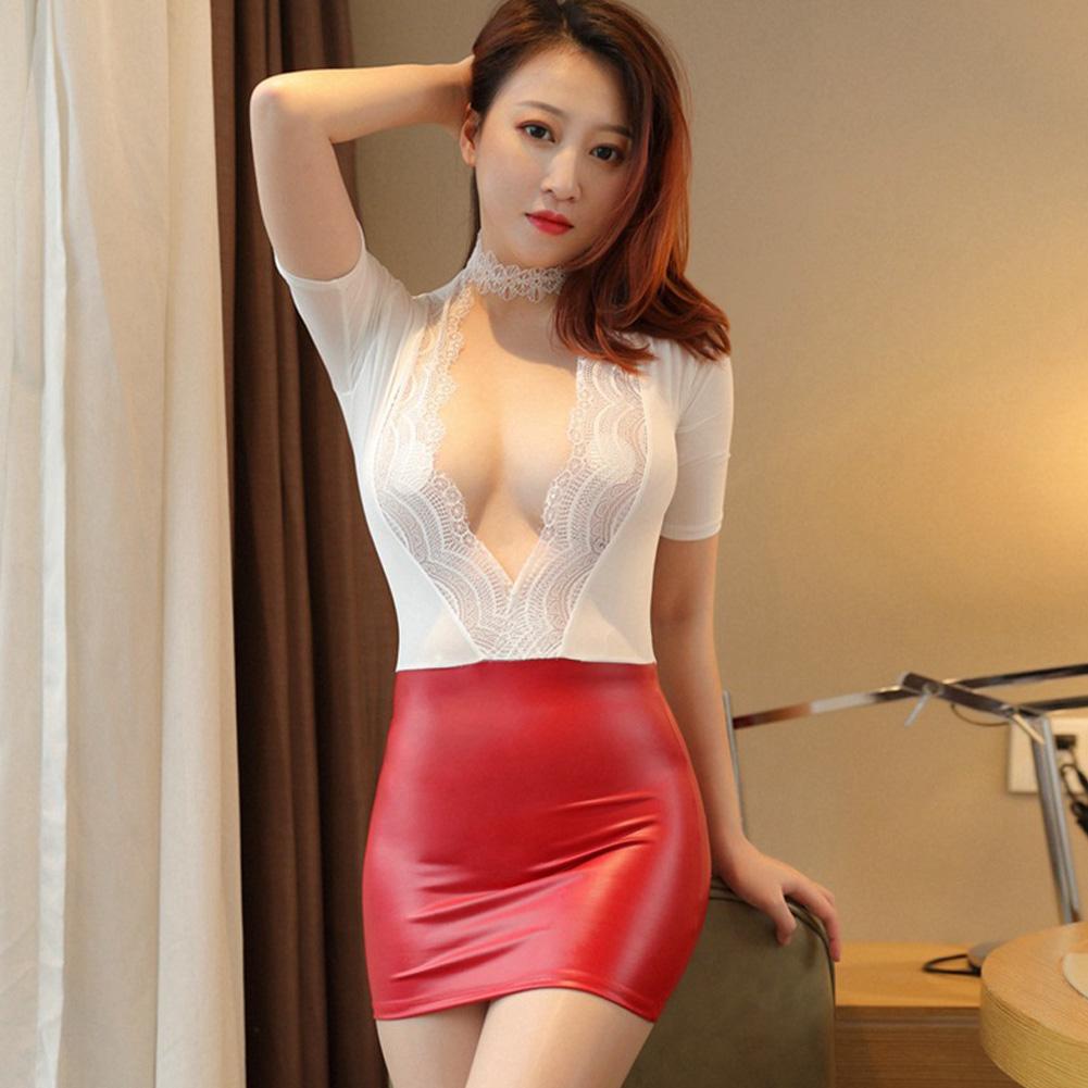 Women OL Secretary Nightclub Uniform Night Skirt Sexy Lingerie Sexy Uniform Extreme Seduction Suit One size