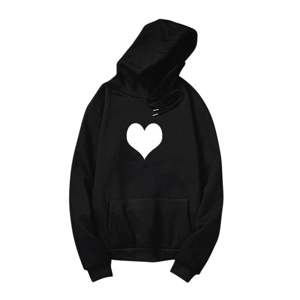 Women Men Heart-shaped Printing Loose Casual Long Sleeve Fleece Hooded Sweatshirts Black white heart_L