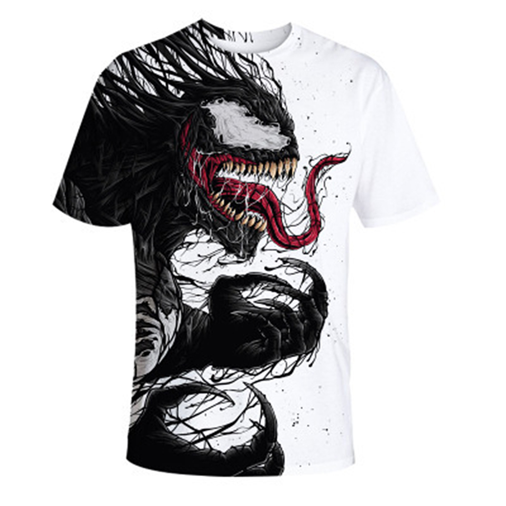 Men Soft 3D Digital Printing Fashion Summer Round Collar Casual T-shirt Tops Venom_XXXL