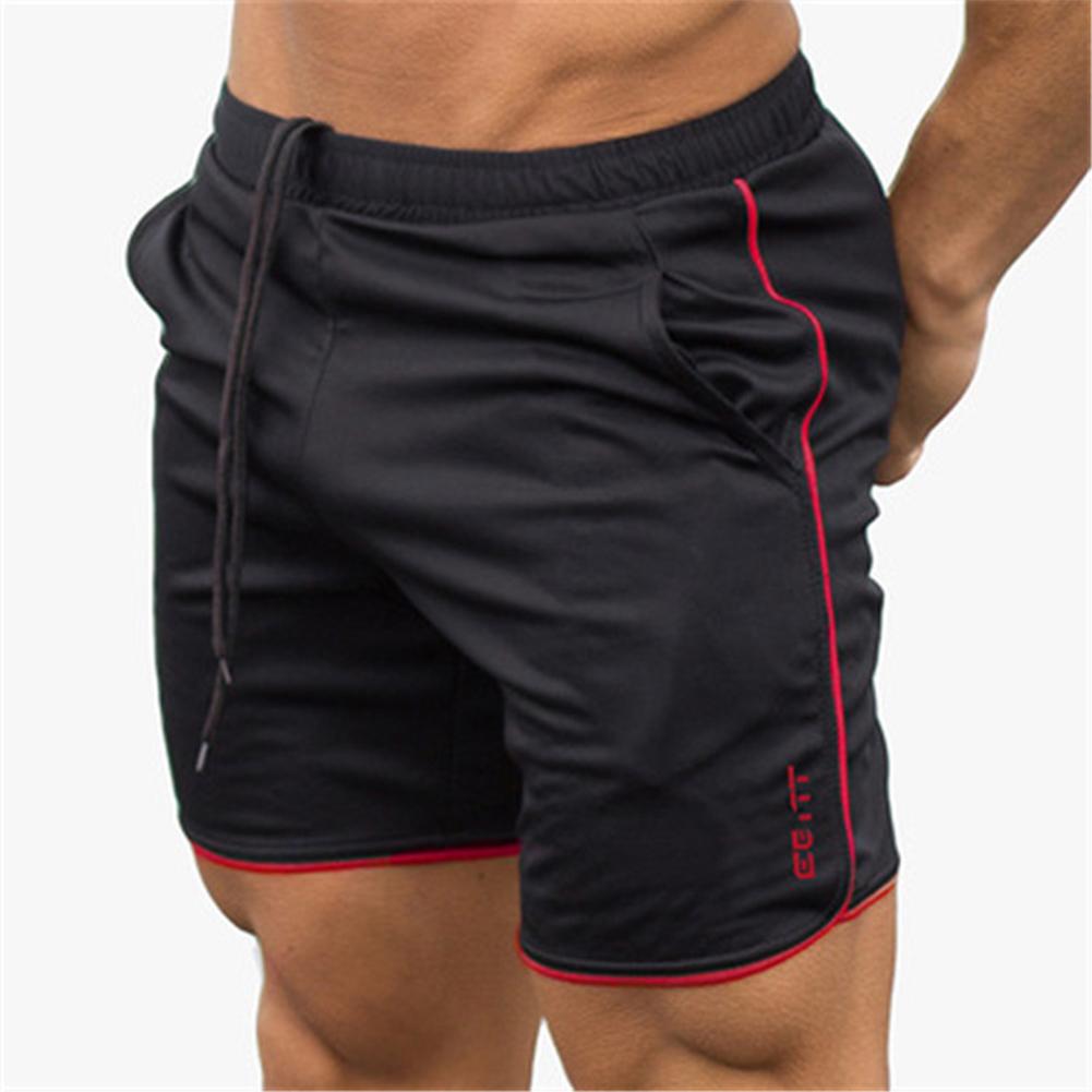 Men Sports Short Pants Quick-drying Elastic Cotton Leisure Pants Black +red _M