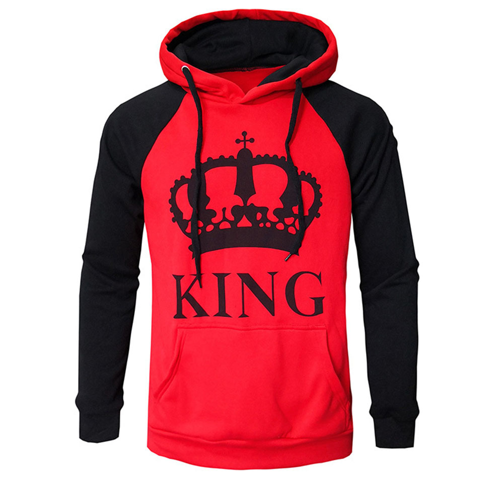 Wen and Women Couple Hooded Black and White Loose Pullover Shirt Red-KING_M