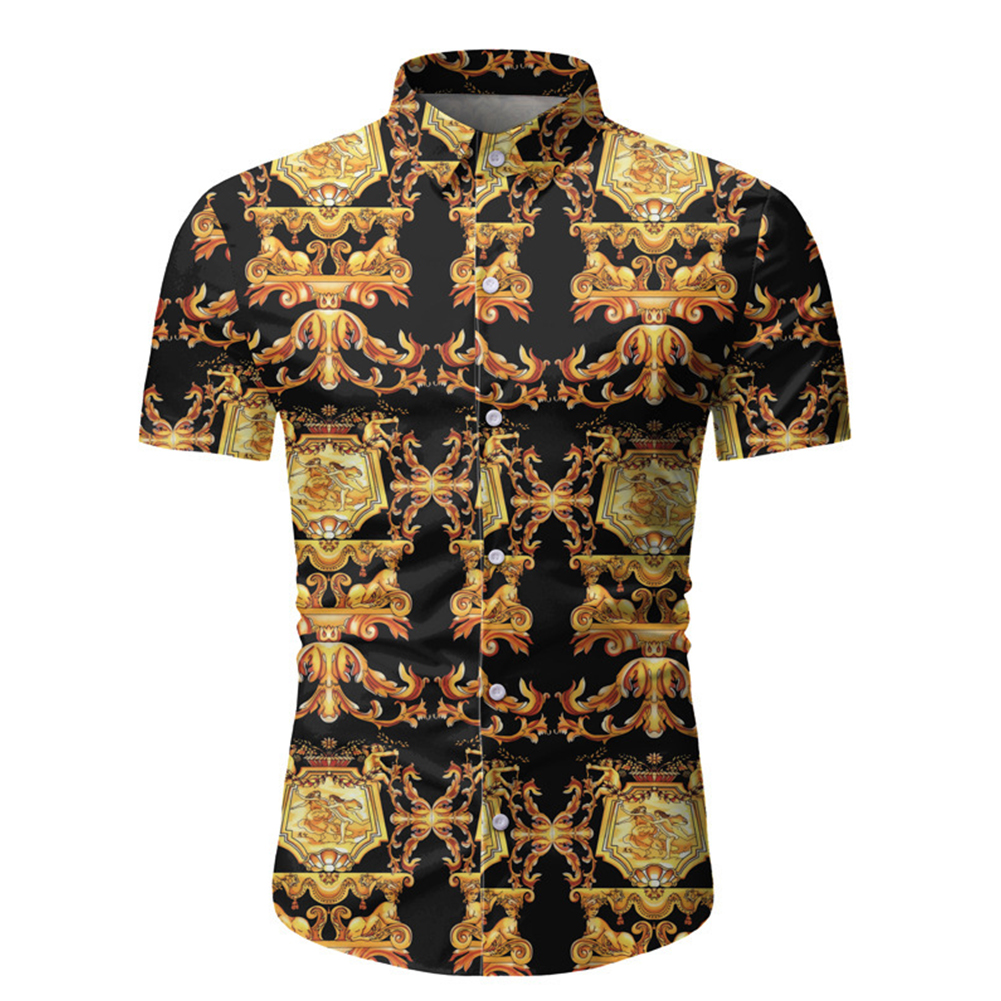 Single-breasted Shirt of Short Sleeves and Turn-down Collar Floral Printed Top for Man As  shown_M