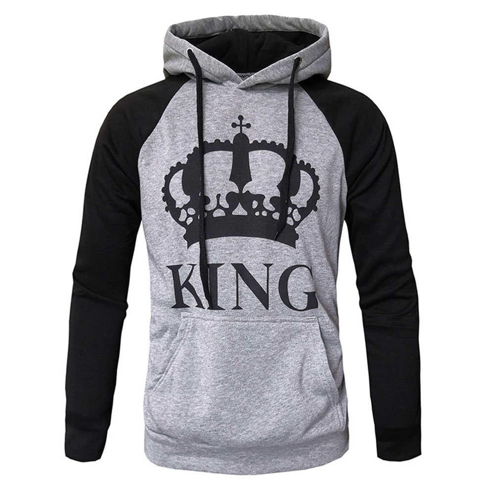Wen and Women Couple Hooded Black and White Loose Pullover Shirt Light gray-KING_XL
