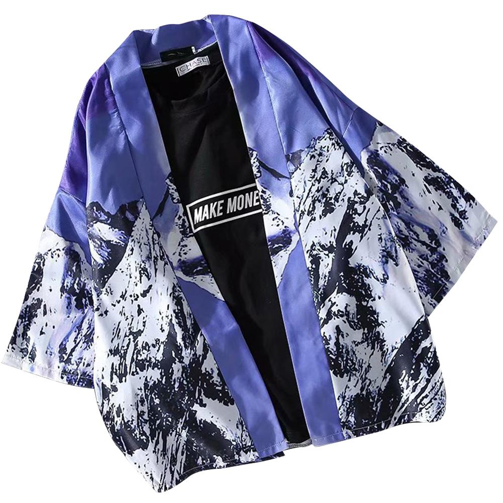 Men Women Lovers Retro Style Snowscape Printing Medium Sleeve Loose Thin Kimono Cardigan 1925# purple blue_XXL