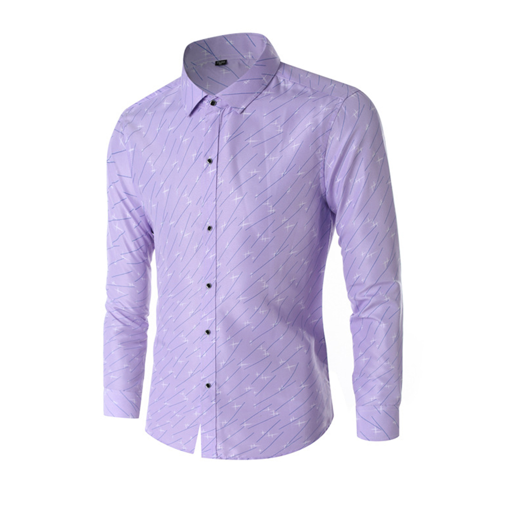 Young Men Long-sleeve Shirt Love Printing Shirt purple_XL