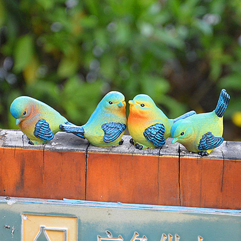 Lovely Resin Mini Bird Figurines Statue Home Table Counter Decoration Set of 4 Styles